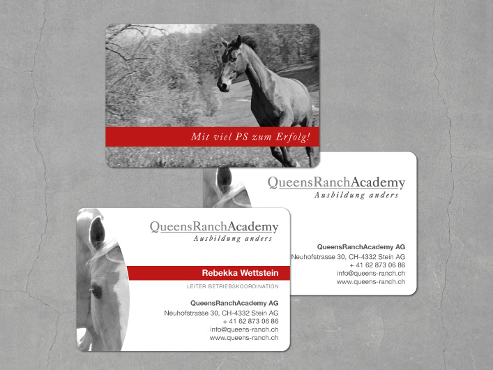kanja queensranchacademy business cards design